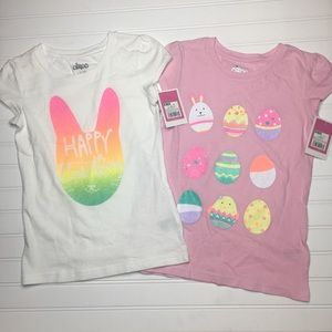 Easter Egg Bunny Girls Shirts 2 Set Size M 7/8